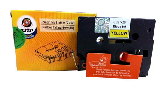 WeP Compatible  Label Tape for Brother Tze-621 Black on yellow(9mmx8mtrs) की तस्वीर