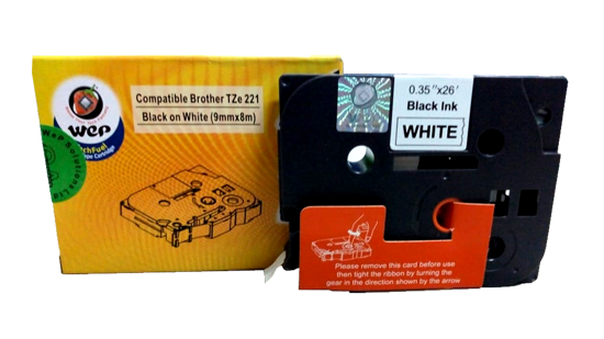 WeP Compatible  Label Tape for Brother Tze-221 Black on White (9mmx8mtrs) चे चित्र