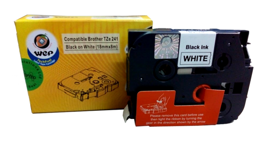 WeP Compatible  Label Tape for Brother Tze-241 Black on White (18mmx8mtrs) की तस्वीर