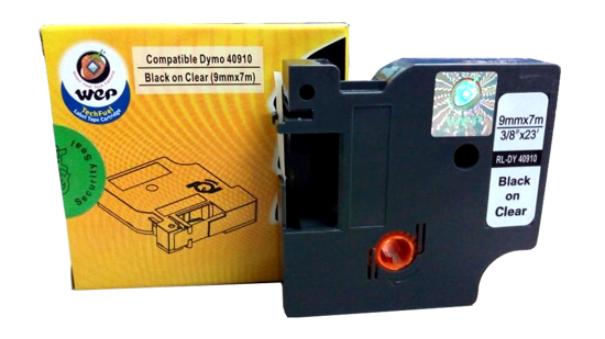 WeP Compatible Label Tape DYMO 40910 S0720670  Black on Clear (9*7) की तस्वीर